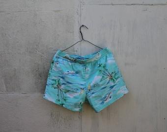 Retro Fluro Turquoise Hawaiian Shorts
