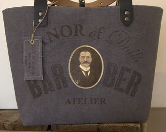 "Medium tote bag ""BaRBER"" Studio blue/grey"