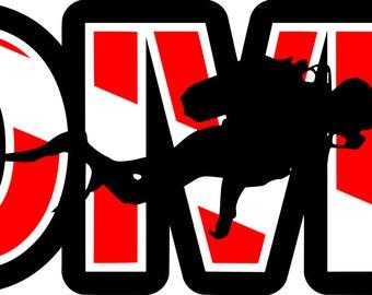 Scuba Diving: Dive w/Diver SVG File!