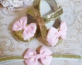 Pink and Gold First Birthday Outfit, Pink and Gold Baby Shoes, Gold First Birthday Shoes, Gold Baby Girl Shoes, 1st Birthday Shoes