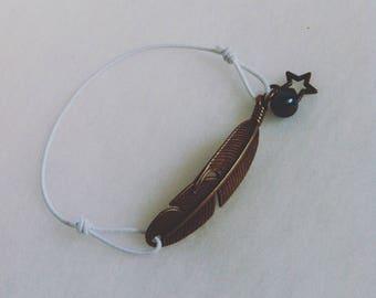 elastic bracelet bronze metal feather