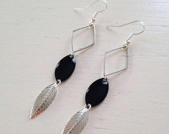 Silver dangling earrings black