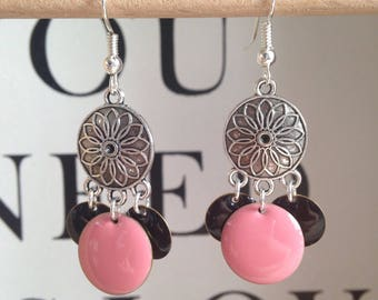 Pink and black sequins and silver dangle earrings
