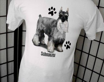 Schnauzer - dog lover t-shirt white cotton tee Medium M front & back graphics - Makes a great gift!