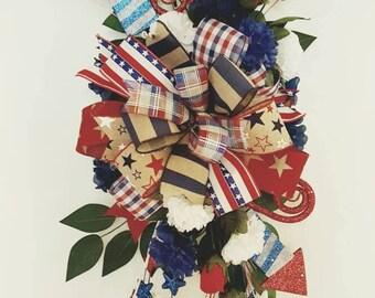 Patriotic Door Hanger, Patriotic Door Wreath, Patriotic Wreath, Patriotic Decor, 4th of July Hanger, Door Decor, patriotic hanger