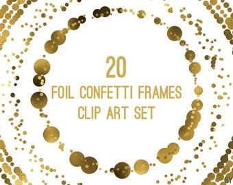 Gold Confetti Frames Foil Circle Clip Art 20 Image PNG File 8in Commercial Use Graphics Digital Clipart