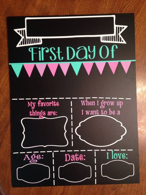 It is a photo of Transformative First Day of School Template Printable