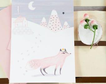 """Affichette -Grande carte-""""Eöl, le renard rose poudré des montagnes"""" - Illustration-Carte de voeux / Noël - Animaux /Pastel-Bleu/Enfants-Bébé"""