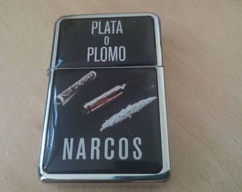 PABLO ESCOBAR NARCOS star hand finished design oil flip windproof lighter charm Plata o plomo cocaine marijuana colombia bullet usa dollar