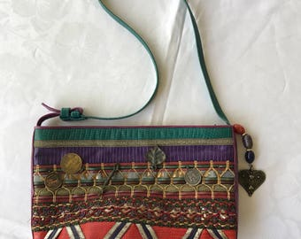 80s multi color leather handbag