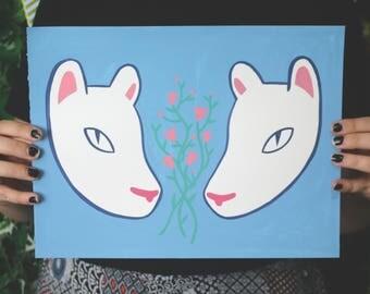 Cat Friends // Original Gouache Painting
