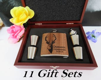 Set of 11, Will You Be My Groomsmen Box,Rosewood Groomsmen Gift Set, Groomsman Flask Gift Set, Groomsman Gift Box with Flask, Best Man Gift