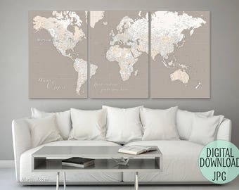 PRINTABLE World map for printing a canvas print, custom quote, large push pin world map, multi panel canvas map, highly detailed. map155 011