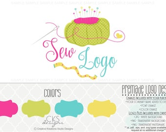 Premade Sew Sewing Logo Design Boutique Logo Watermark Logo Photography Logo Bowtique Logo Branding Logo