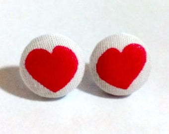 Fabric Earrings, Covered Button Stud Earrings, Dark Pink Heart Earrings, Sassy Earrings, Heart Studs