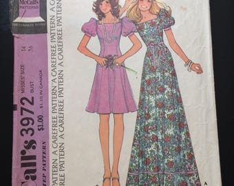 1974 McCall's Step-by-Step Carefree Pattern # 3972 Dress, Misses Size 14