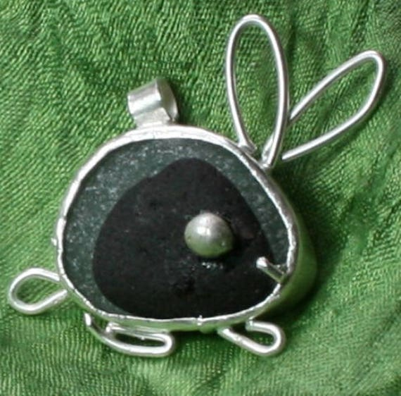 SEAGLASS RABBIT PENDANT -  Sterling Silver, One of a kind