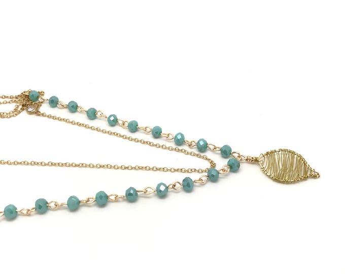 Long blue boho necklace, Long Boho necklace, Jewelry Popular necklace, Blue necklace, Wire wrapped necklace