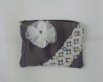 Purple satin zippered pocket purse