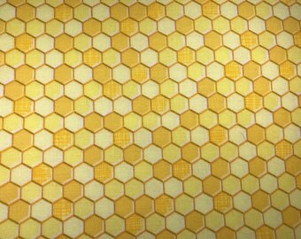 Honey comb fabric.Yellow fabric.  Geometric fabric