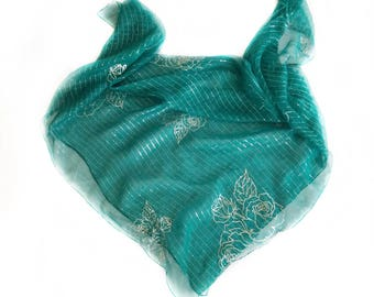 Emerald Green Shawl, Mother's Day Gift for Mom, Gift for Sister, Coworker Gifts Jade Silk Scarf, Bling Scarves Teal Scarves for Bridesmaids