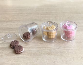 Miniature Cookies in Acrylic Bowl with lid,Miniature Cookie,Dollhouse Cookie,Miniature Sweet,Dollhouse Bakery,Chocolate Cookie,Cookie Bowl