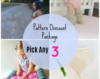 Pattern Discount Pack, Three Design Pack, Bundle and save, patterns, Downloadable Project, knitting patterns, crochet patterns