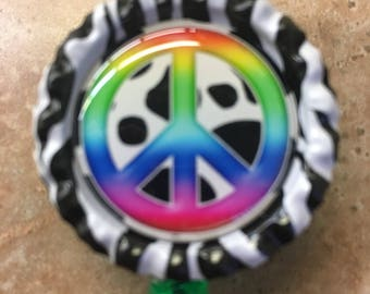 Peace Sign Inspired Bottlecap Retractable ID Badge Holder Name Tag Reel
