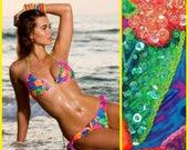 Tropical Swimsuit, Tropical Bikini, Bright Bikini, Hawaiian Bikini, Sexy Bikini, Floral Swimsuit Beaded Bikini Floridita Hula Girl swimsuit!