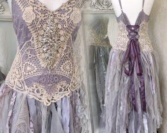Boho Wedding Dress Cream Laces Alternative Wedding Dress Boho