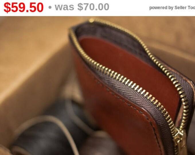 Horween Essex Leather Mini Zip Wallet /Small leather wallet / Horween Leather Wallet/ Card wallet/