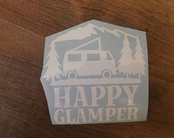 Happy Glamper RV car or laptop decal, camping decal, decal with mountains, camper decor