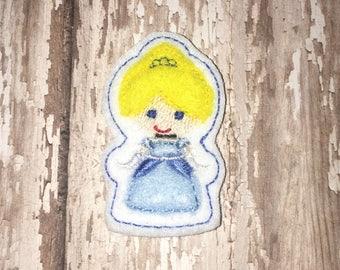 Set of 4 Cindy Blue Princess Cutie Feltie Felt Embellishment Bow! Birthday Party Decoration Felties Planner Clip Cinderella Hairbow