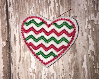 Set of 4 Chevron Heart Felties Christmas Feltie Felt Embellishment Bow! Birthday Party Planner Clip
