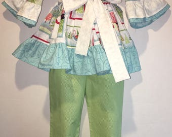 Girls Christmas Snowman Outfit Winter Santa Girl Boutique Birthday Party Ruffle Pant Set Outfit! Tree Blue Winter Scenes