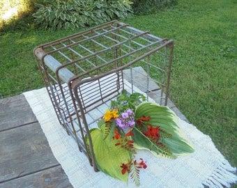 Rustic Metal Milk Crate, Heavy Wire Milk Crate, Primitive Farmhouse Decor