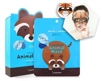 Raccoon Animal Face Mask Sheets - Korean Wrinkle Reducing Facial Masks - Bridemaids Beauty, Bridal Shower Games