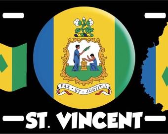St Vincent Flag Coat Of Arms License Plate Novelty