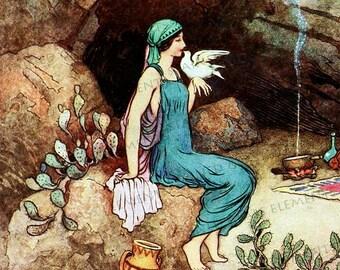 Warwick Goble ceramic decal, fairytale decal, fairytale,  dove, pigeon, 3.94x3.94 inch, 10x10cm, firing temperature 1400-1562 ºF, 760-850 ºC