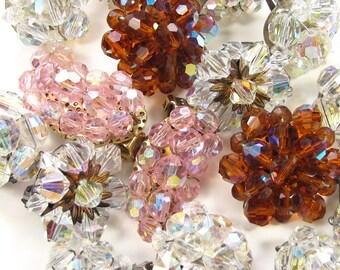 Vintage AB Custer Earrings Destash Lot - 7 Pair Aurora Borealis Crystal Assortment Wear Repair Craft Supplies, Junk Jewelry