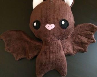 Stuffed bat plush,soft brown minky stuffed bat,bat toy