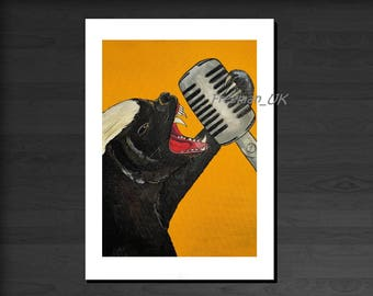Honey Badger Singer, with Vintage Microphone  Greetings card