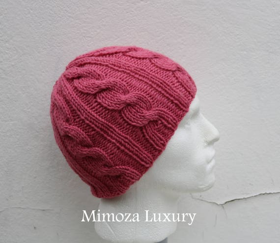 Rose Men's Beanie hat, Hand Knitted Hat in rose pink beanie hat, knitted cap, knitted men's, women's beanie hat, winter beanie, rose ski hat