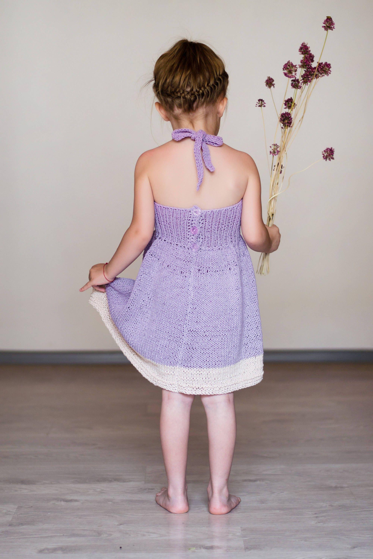 Knitted dress for girl violet girl dress lilac dress for baby girl