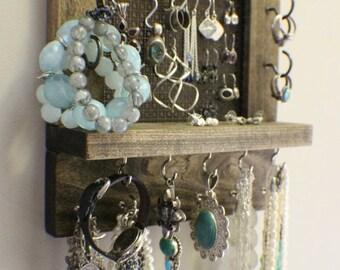 ON SALE Mini Amazing Ash and Bronze Wall Mounted Jewelry Organizer, Wall Organizer, Jewelry Display, Necklace Holder, Earring Organizer
