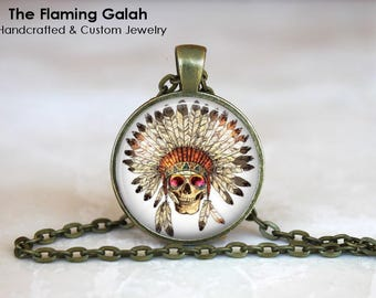 INDIAN HEADDRESS Pendant • Boho Headdress • Indian Skull • Boho Indian Skull • BoHo Jewellery • Gift Under 20 • Made in Australia (P1399)