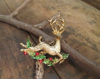 Vintage Gold Tone Gerry's Reindeer with Red and Green Enamel Brooch