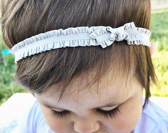 Gray Ruffles : elastic headband