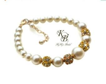 Gold Bridal Bracelet Swarovski Pearl Bracelet Pearl Bridal Bracelet Bride Jewelry Wedding Jewelry Wedding Bracelet Bride Bracelet Weddings