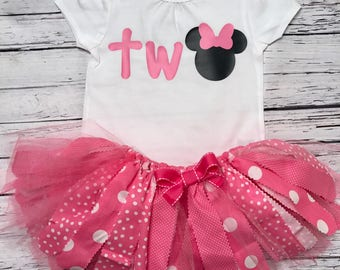 Minnie Mouse Birthday Outfit. Pink Minnie Birthday Outfit. Minnie Mouse Tutu. Minnie Bodysuit. Minnie Shirt.